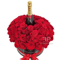 Scatola Rose Rosse e Moet Chandon