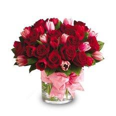 Vaso Rose Rosse e Tulipani
