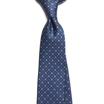 Floral silk tie - Navy