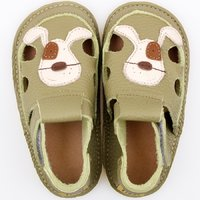Barefoot kids sandals - Classic Green Doggy