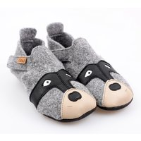 Felted wool shoes- Ziggy Raccoon 24-32EU