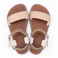 Sandale cu baretă ajustabilă - Cappuccino & Brown - în stoc